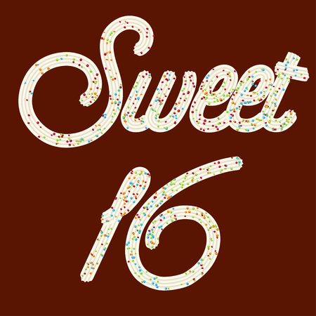 "Tempting typography. Icing text. ""Sweet 16"" whipped cream text glazed with candy. Vector."