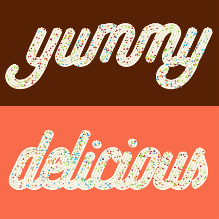 Tempting  typography. Icing text. Words delicious and yummy from whipped cream glazed with candy.Vector Ilustração