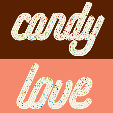 Tempting  typography. Icing text. Words candy and love from whipped cream glazed with candy.Vector