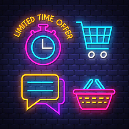 E-commerce neon signs collection. E-commerce signs. Neon signs. Vector Illustration