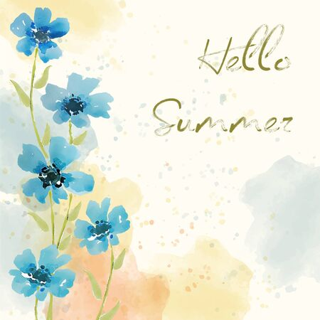 Hello summer. Watercolor banner with flowers 向量圖像