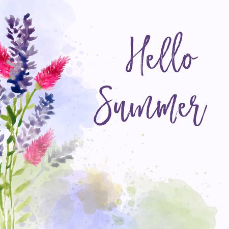 Hello summer. Watercolor banner with flowers Иллюстрация