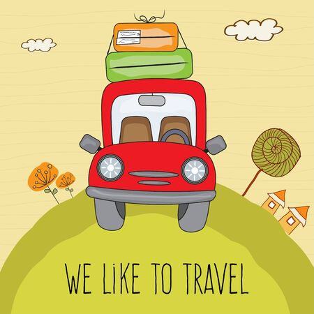 Red car with suitcases on the road. Summer holiday poster  イラスト・ベクター素材