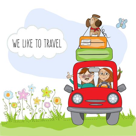 happy couple with their dog traveling with funny red car. Summer holiday poster Stock Vector - 129931290