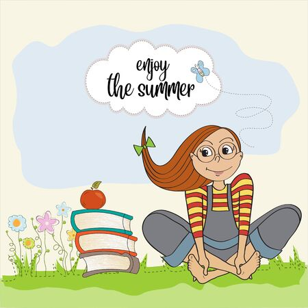 Teenage girl with many books enjoy the summer.