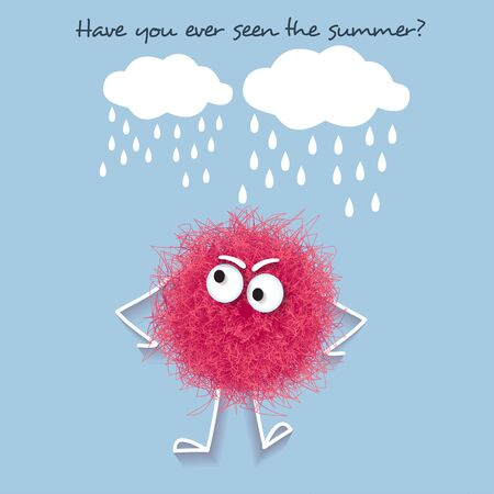 Funny  summer banner with fluffy pink creature