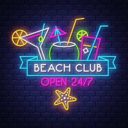 Beach club. Summer holiday banner. Neon banner. Neon sign. Vector. Çizim