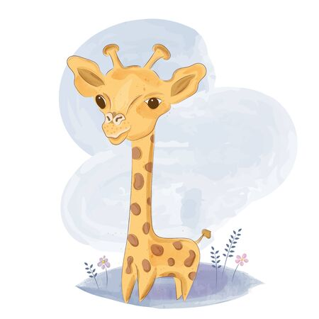 Cute baby giraffe on  the meadow