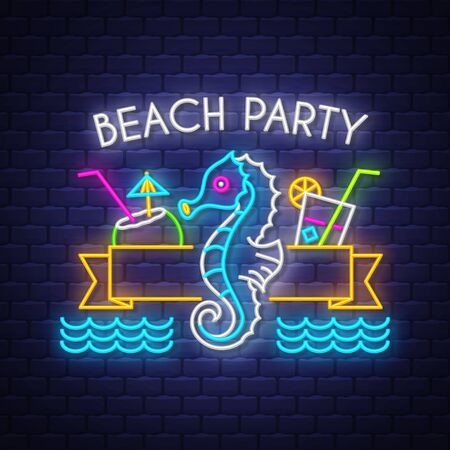 Beach party. Summer holiday banner. Neon banner. Neon sign. Vector. Reklamní fotografie - 124645154