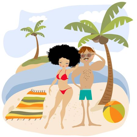 Sexy couple on the beach. Summer holiday poster Standard-Bild - 129931300