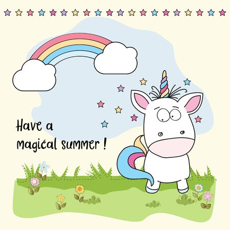 Have a magical summer. Cool poster with unicorn 스톡 콘텐츠 - 124644960
