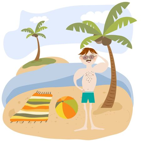 Sexy man on the beach. Summer holiday poster