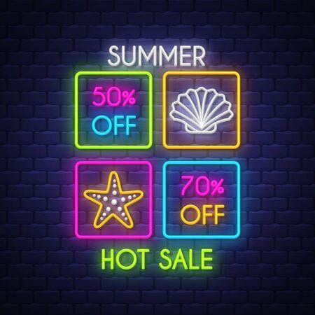 Summer sale banner. Neon sign lettering. Vector