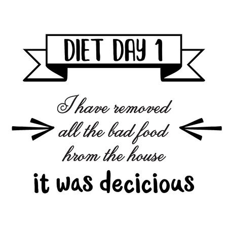 Funny quote about  diet. Vector.   イラスト・ベクター素材