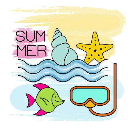 Watercolor summer holiday poster. Summer banner. Ilustração