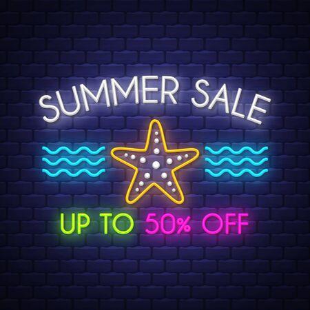 Summer sale banner. Neon sign lettering.
