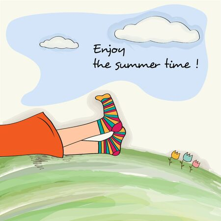 Funny  feet on green grass. Watercolor summer holiday poster Stock Illustratie