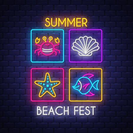 Summer beach fest. Summer holiday banner. Neon banner. Neon sign. Çizim