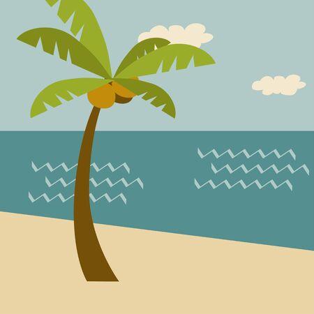 Beach  scene. Retro summer holiday poster Ilustração