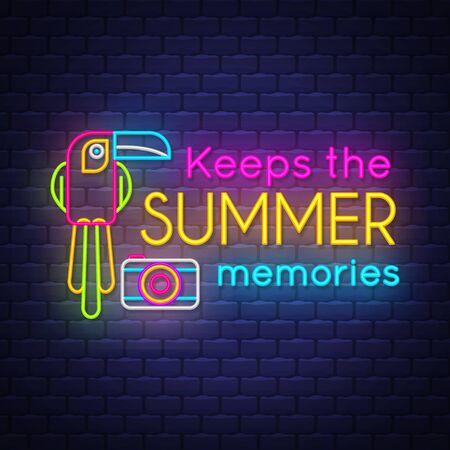 Keeps the summer memories. Summer holiday banner. Neon banner. Çizim