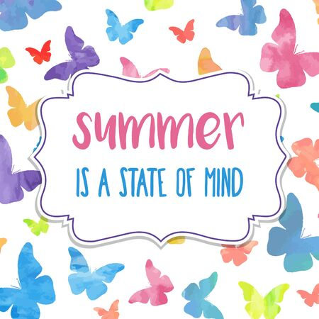 Summer is a state of mind. Watercolor banner  with butterflies Çizim