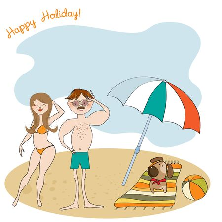 Funny couple on the beach. Summer holiday scene