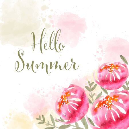 Hello summer. Watercolor banner with flowers  イラスト・ベクター素材