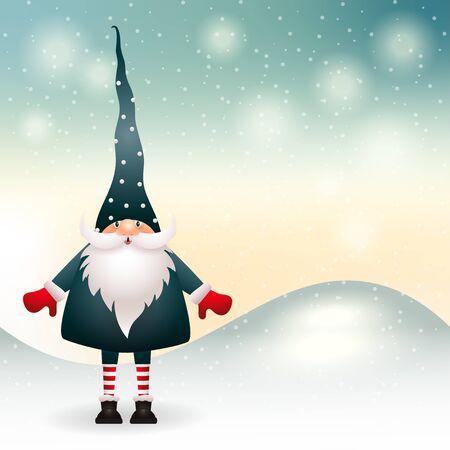Christmas gnome in winter decor. Vector Standard-Bild - 134023229