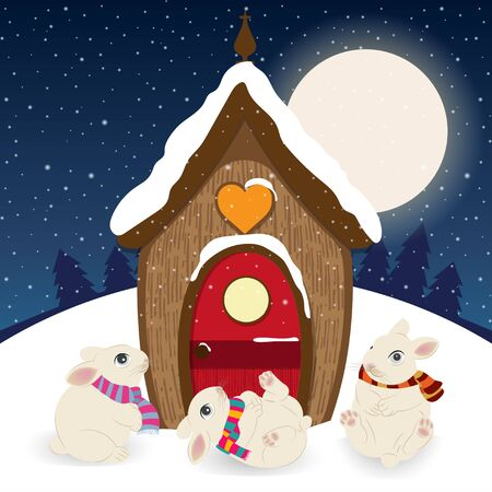 Cute Christmas scene with gnome house and happy bunnies Çizim