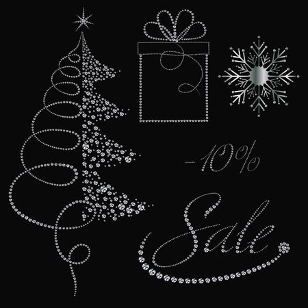 Festive diamonds Christmas items collection for Christmas sale banners Illustration