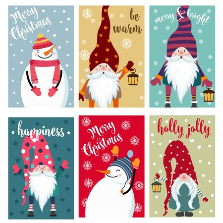 Christmas card collection with snowman and gnomes. Labels. Stickers. Flat design Illustration