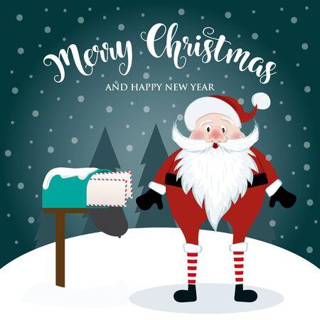 Tarjeta de Navidad con lindo Santa. Diseño plano. Vector