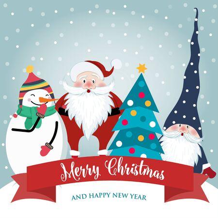 Cartolina di Natale con Babbo Natale carino, gnomo e pupazzo di neve. Design piatto. Vettore
