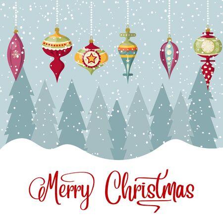 Tarjeta de Navidad con bolas y deseos. Fondo de Navidad. Diseño plano. Vector Ilustración de vector