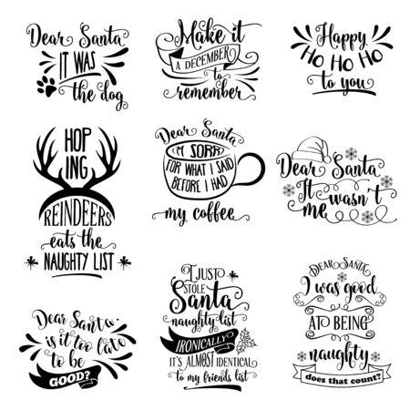 Gran colección de citas de Navidad aislado en blanco. Vector Ilustración de vector