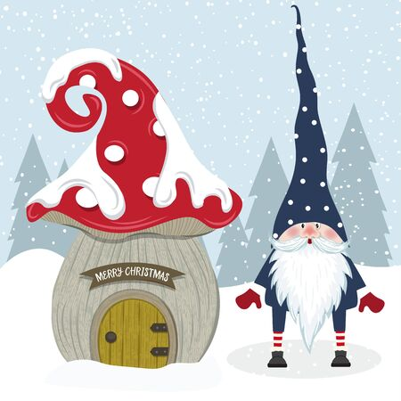 Cute Christmas gnome and her mushroom house. Flat design. Stockfoto - 134023718