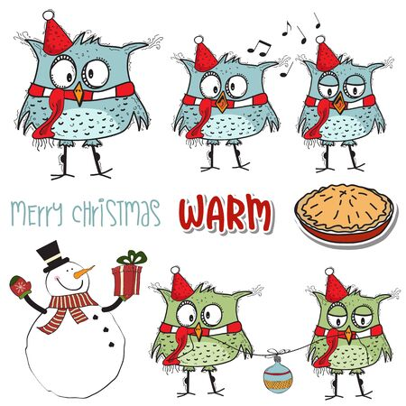 Funny Christmas birds collection and other Christmas items