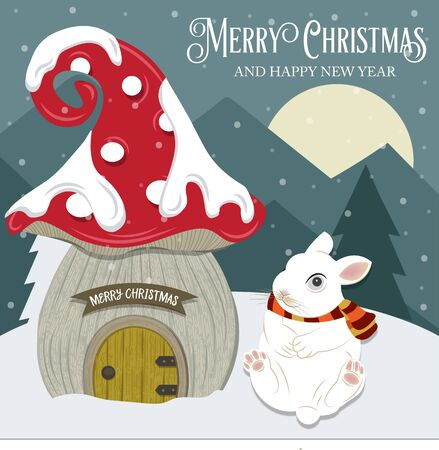 Beautiful Christmas card with gome house and rabbit. Flat design. Vector