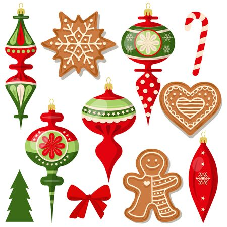 beautiful Christmas decoration collection isolated on white Stock Illustratie