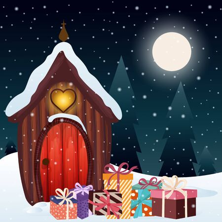 Magical Christmas scene with gnome house and presents Standard-Bild - 134024016