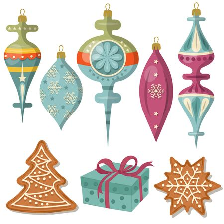 beautiful Christmas decoration collection isolated on white Ilustrace