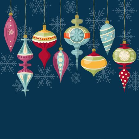 Flat design Christmas card with Christmas balls