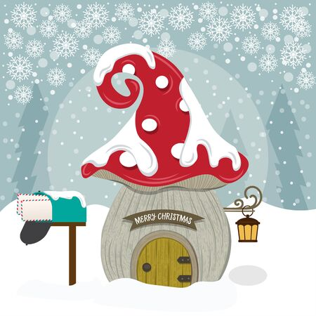 Christmas card with cute gnome house.. Christmas poster. Flat design. Standard-Bild - 134024298