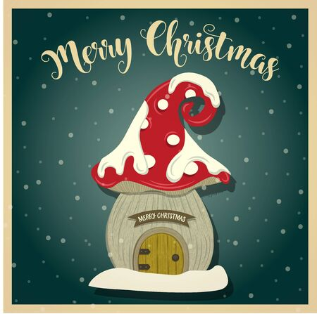 Vintage  Christmas card with gnome house. Christmas poster. Print. Vector