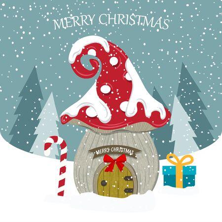 Beautiful flat design  with fairy house. Christmas card . Christmas poster. Vector Standard-Bild - 134024608