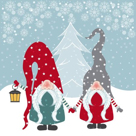 Beautiful flat design Christmas card with happy gnomes. Christmas poster. Vector Stock Illustratie