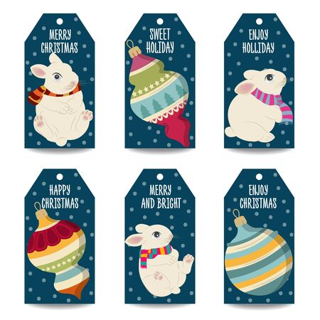 Christmas labels collection with Christmas balls, and rabbits  isolated items on white background. Vector