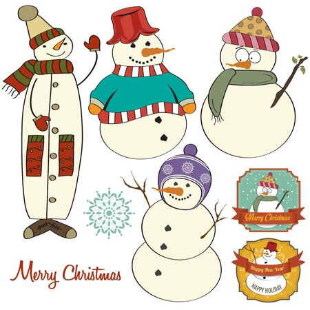 Cute hand draw snowmen collection isolated on white background