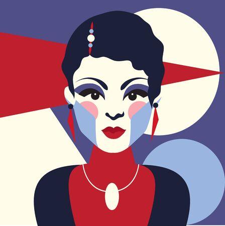 Fashion woman portait art deco style. Flat design. Vector