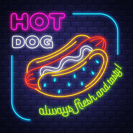 Hot Dog - Neon Sign . Hot Dog - neon sign on brick wall background Imagens - 151632631